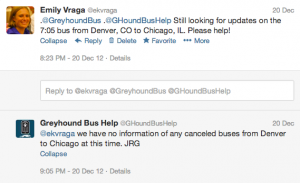 My Twitter interaction with Greyhound